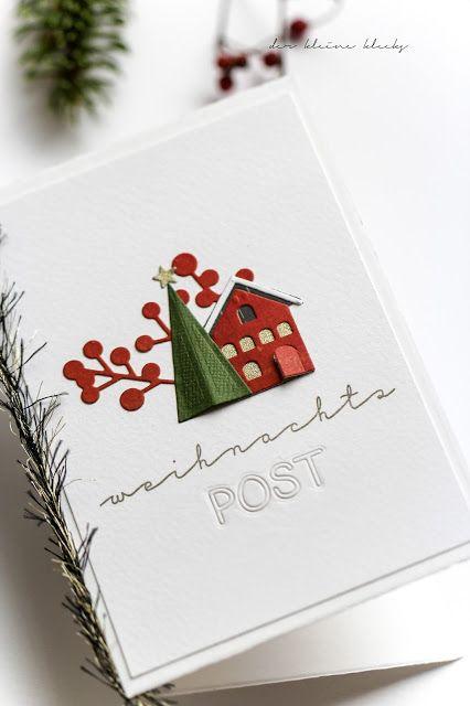 """der kleine klecks: Weihnachtspost {Schneekugel No. 3}  Thinlits Snowglobe - Tim Holtz - Sizzix,  Stanzformenset """"Post für dich"""" - Charlie und Paulchen,  Stempelset """"Post für alle"""" - Charlie und Paulchen,  Gui - Kesi´art,  Pow-Glitterpapier Gold."""