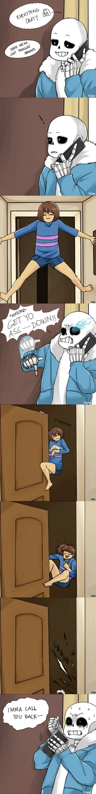 Babysitter!Sans: I'M ON PHONE! by NonLee.deviantart.com on @DeviantArt