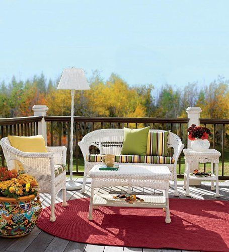 All Weather Resin Outdoor Easy Care Wicker Seating And Table Set By Plow U0026  Hearth Part 43