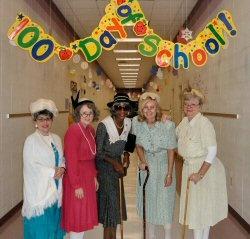 Super cute! Teachers dress up for 100th day.