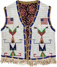 American Indian Art:Beadwork and Quillwork, A SIOUX PICTORIAL BEADED AND FRINGED HIDE VEST. c. 1900. ...