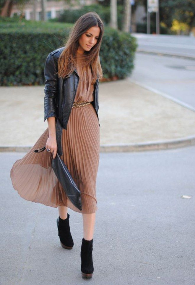 leather jacket + brown pleated dress