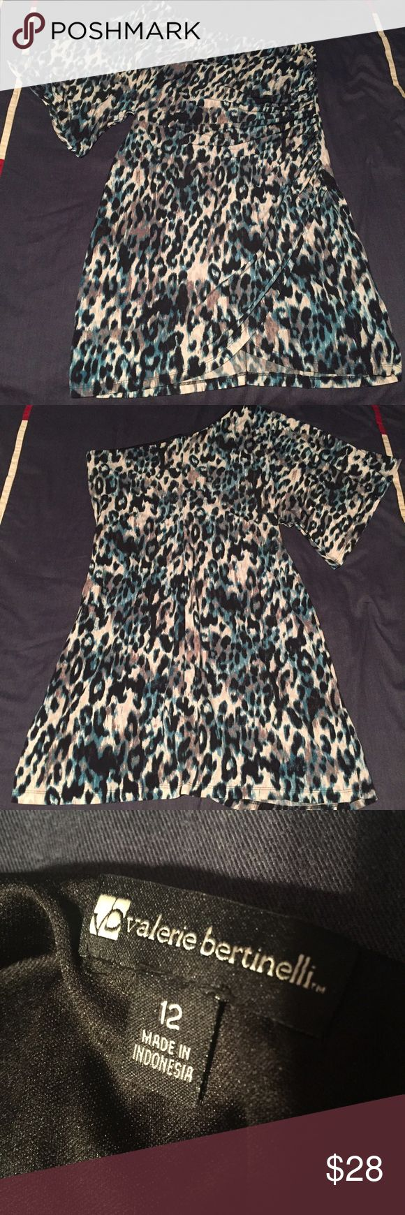 Valerie Bertinelli Cheetah Dress! Cheetah print one-sleeve dress with cream, brown, black, & turquoise. Excellent condition! Dresses Midi