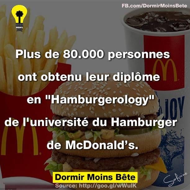 """Plus de 80.000 personnes ont obtenu leur diplôme en """"Hamburgerology"""" de l'université du Hamburger de McDonald's."""