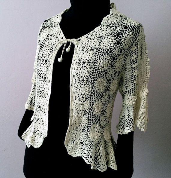 Offwhite crochet cardigan sweater  Openwork with Irish by domklary