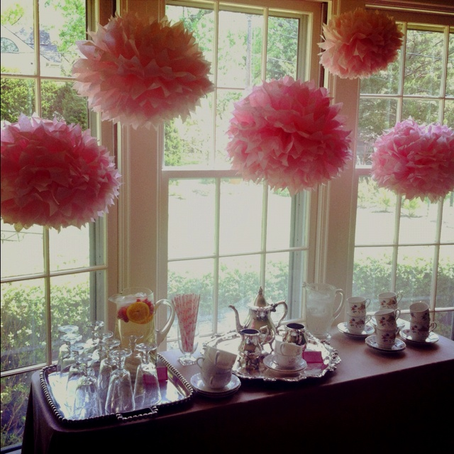 wedding shower decoration ideas i like these pom decorations they can take the place of 1146