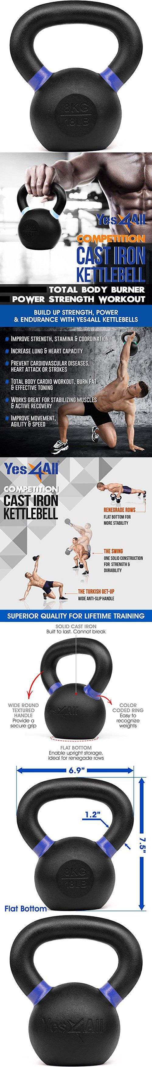 Yes4All Solid Cast Iron Competition Kettlebell Weight Set - Great for Full Body Workout  8 KG / 18 LB Kettlebell Competition Weight