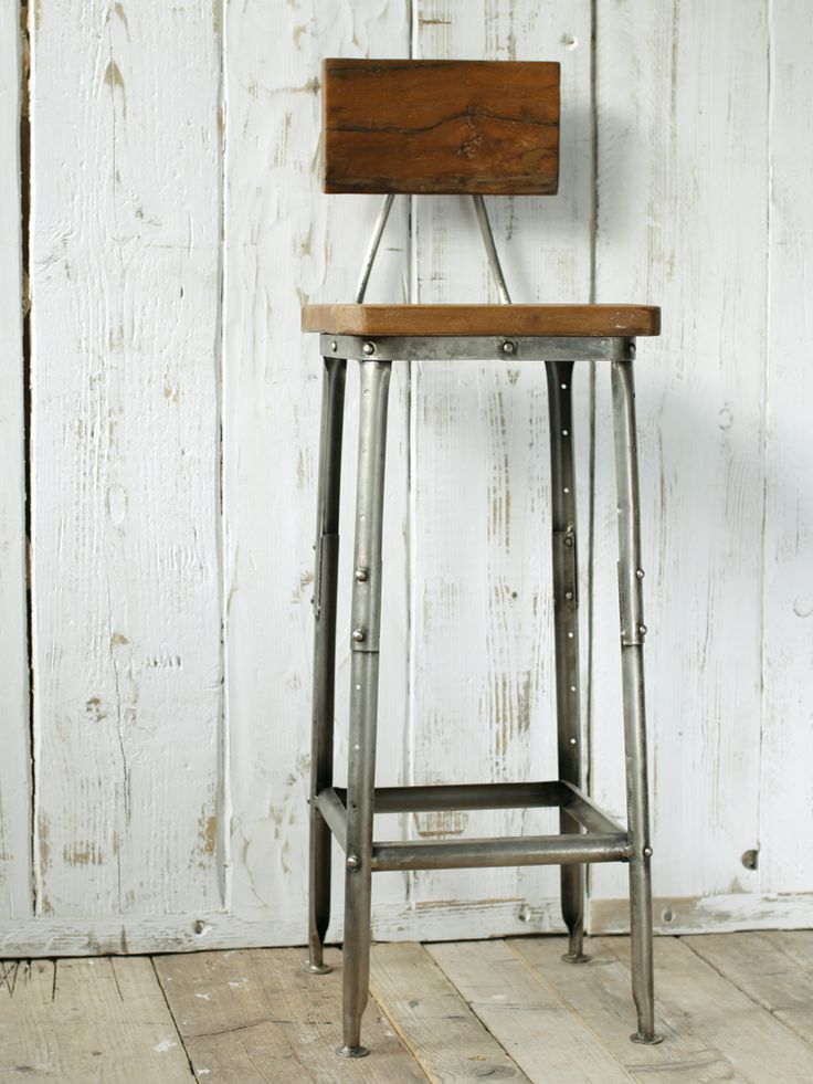 Industrial Wooden Stool
