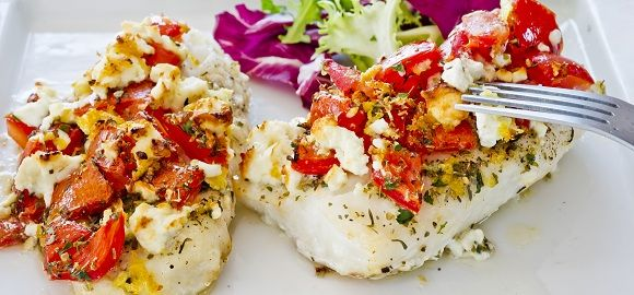 Olympic Baked Greek Pollock with Tomatoes and Feta