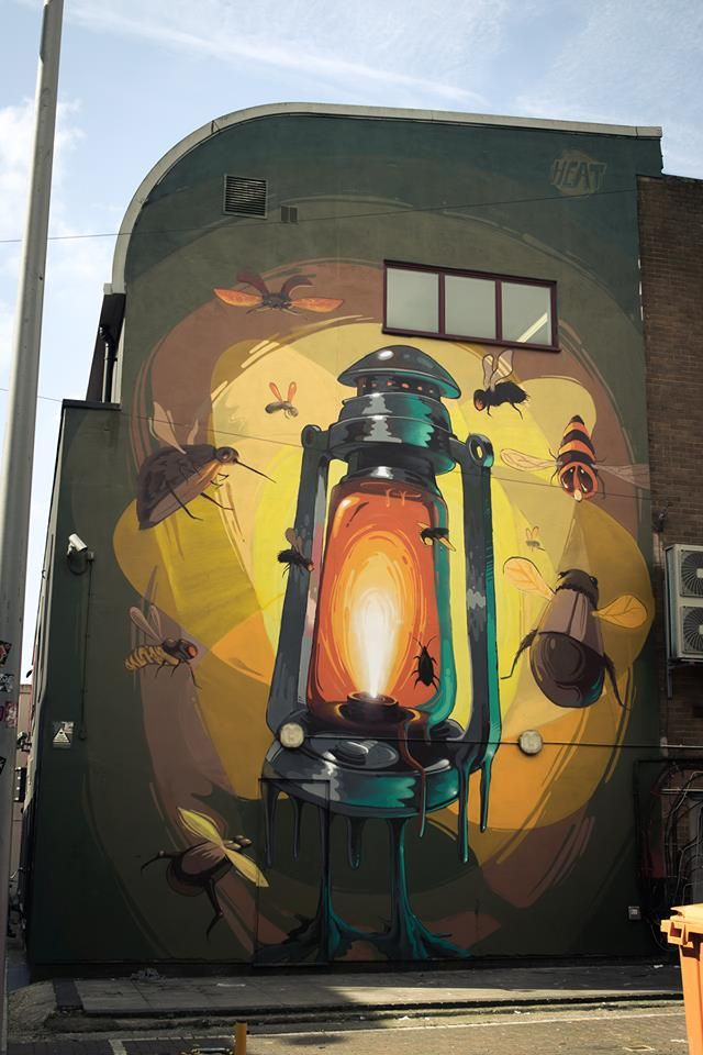 Outdoor lantern on a building. Great street art!