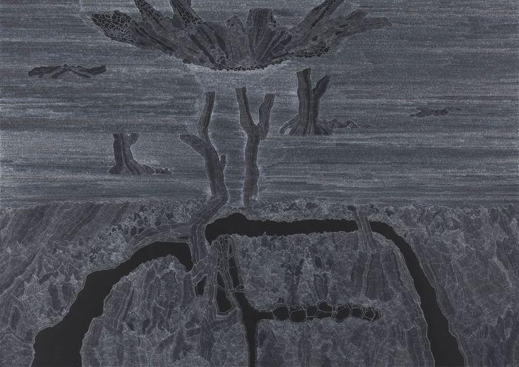 Clément Bagot, Liignum, 2015, encre blanche sur papier noir, 100 x 140 cm www.evahober.com