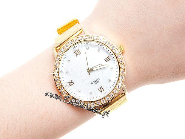 Złoty Zegarek HIT Blogerek Damski Gold Retro
