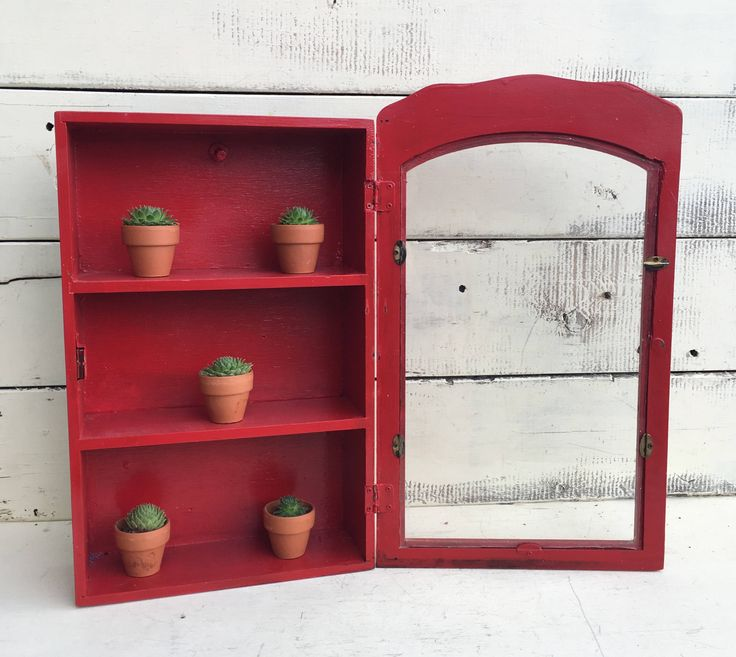 Vintage Curio Display Cabinet With Glass Door * Red Painted Wood 1970s Curio  Cabinet * Farmhouse