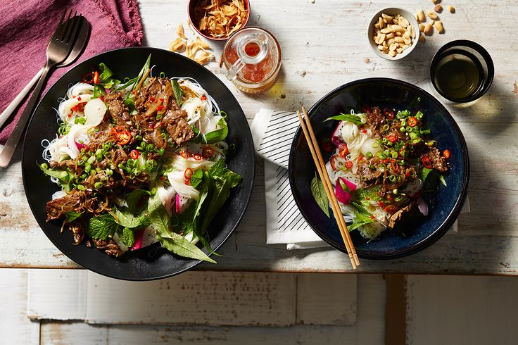 Vietnamese Stir-fried lemongrass beef with warm vermicelli noodle salad