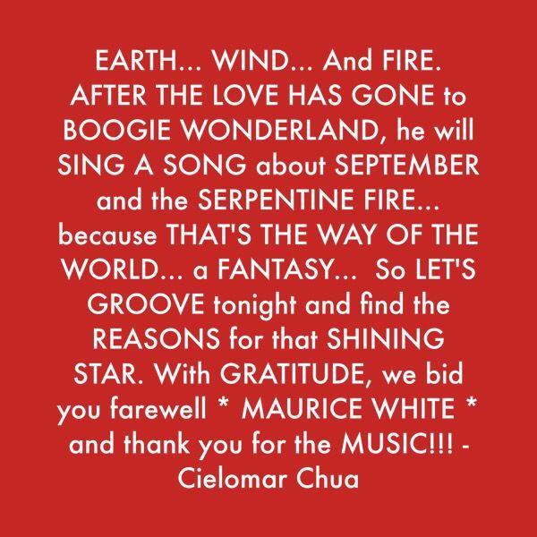 *** Farewell MAURICE WHITE... Fire ***