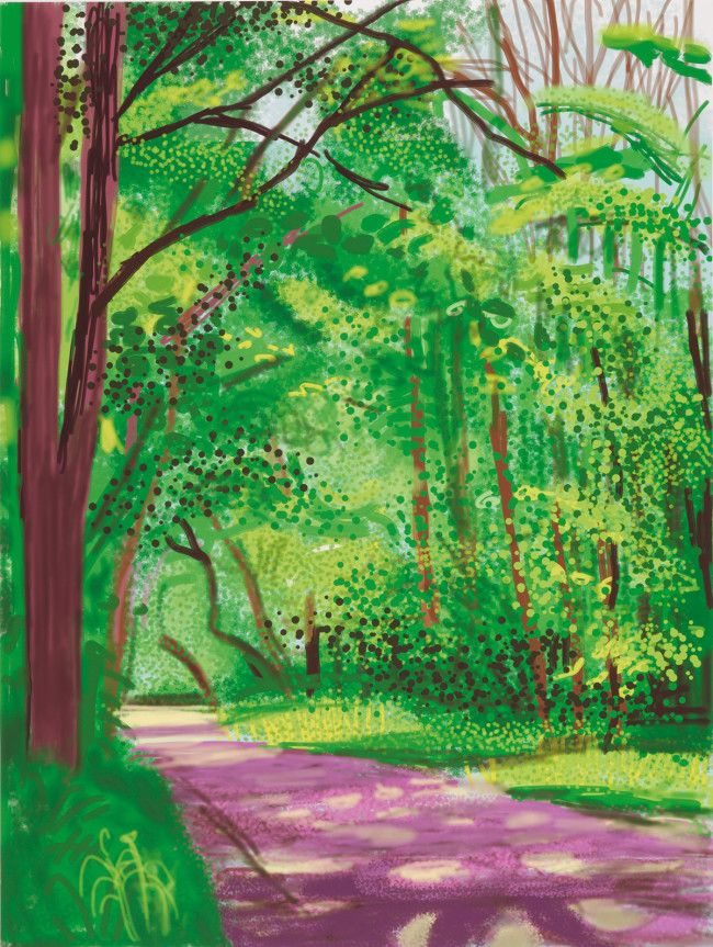 David Hockney RA The Arrival of Spring in Woldgate, East Yorkshire in 2011 (twenty eleven) - 28 April 2011 Ed.6/25 iPad drawing printed on paper 139.7 x 105.4 cm