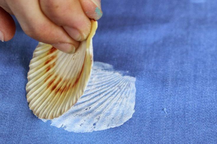 muszla odciśnięta na tkaninie, farby Textile Art Nerchau