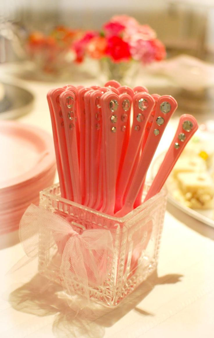 Rhinestones glued on pink plastic forks