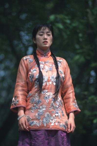 Chinese actress Gong Li during the filming of 'Temptress...