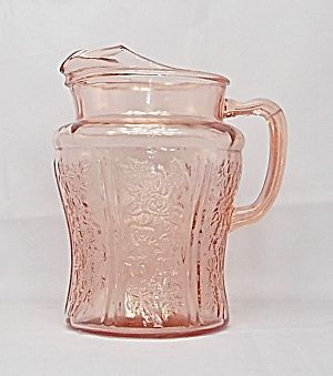 """Pink """"Sharon"""" 80 Oz. Depression Glass Pitcher with Ice Lip."""