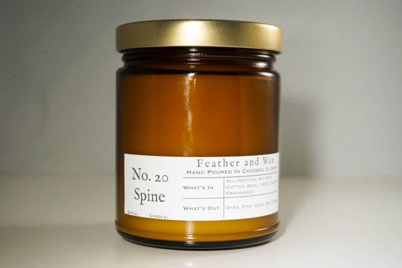 No. 20 Spine. Books Candle. Library candle. Book gift. Hand Poured Soy Candle. Amber Glass Candle. Unique gift ideas. Boyfriend Gift.