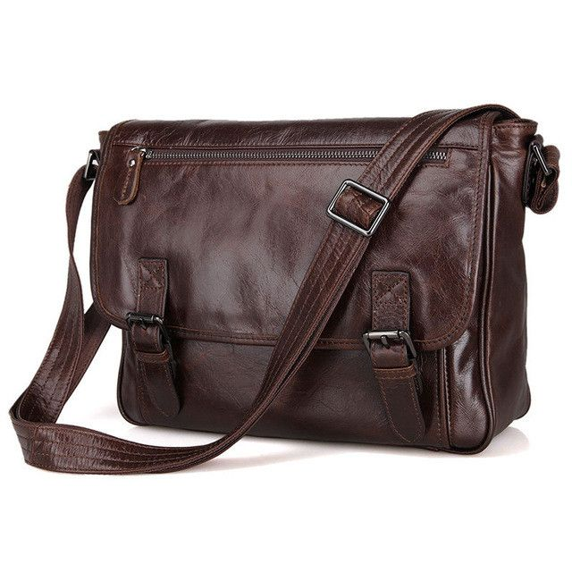 "Men's Cowhide Handbag 100% Genuine Leather Bag Business Messenger Bags Shoulder Portable Briefcase Laptop Purse 13"""