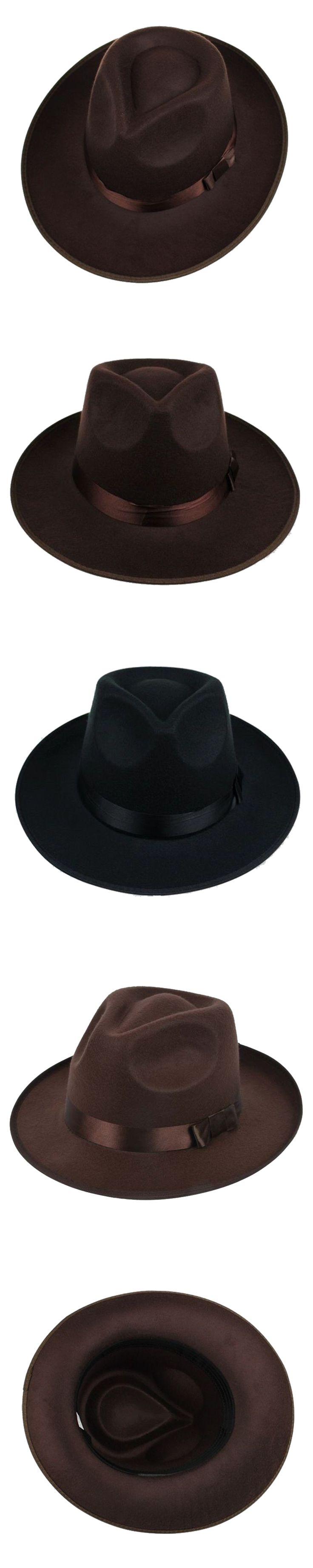unisex men women hats caps panama fedora trilby straight wide brim hard felt coffee gray black