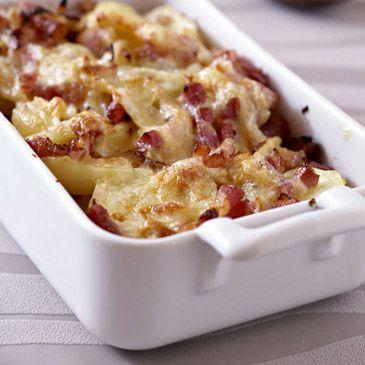 Gratin de pommes de terre aux lardons et munster
