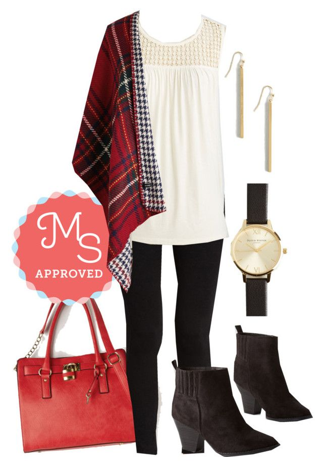 """""""Cozy Campside Shawl"""" by modcloth ❤ liked on Polyvore featuring Melie Bianco and Olivia Burton"""