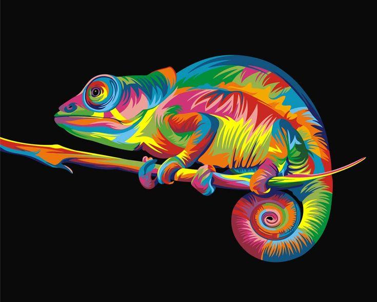 Картина по номерам, раскраска по номерам, paint by numbers, оригинальный подарок - Радужный хамелеон, Ваю Ромдони - Zvetnoe.ru - картины по номерам