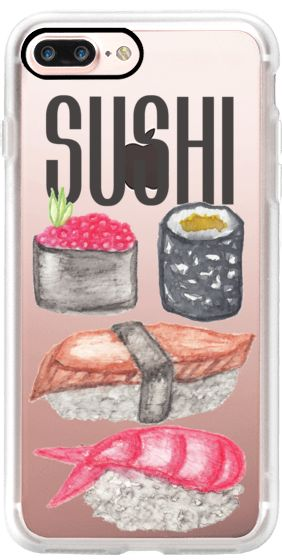 Casetify iPhone 7 Plus Case and other Sushi iPhone Covers - Sushi Typography and Cute Watercolor Sushi by BlackStrawberry   Casetify