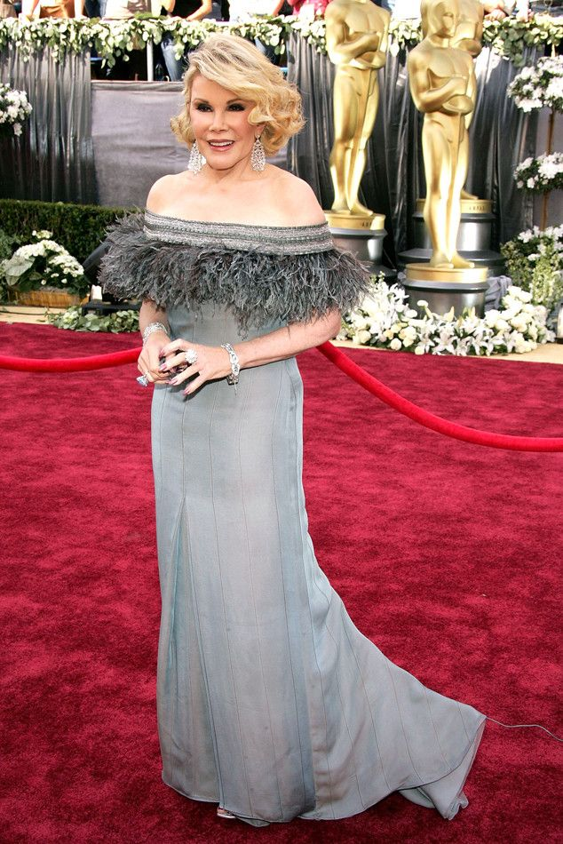 Hollywood Glam Gal from Joan Rivers' Red Carpet Style Through the Years  Whew! The Fashion Police star is stunning in an off-the-shoulder gray gown to the 2006 Oscars.