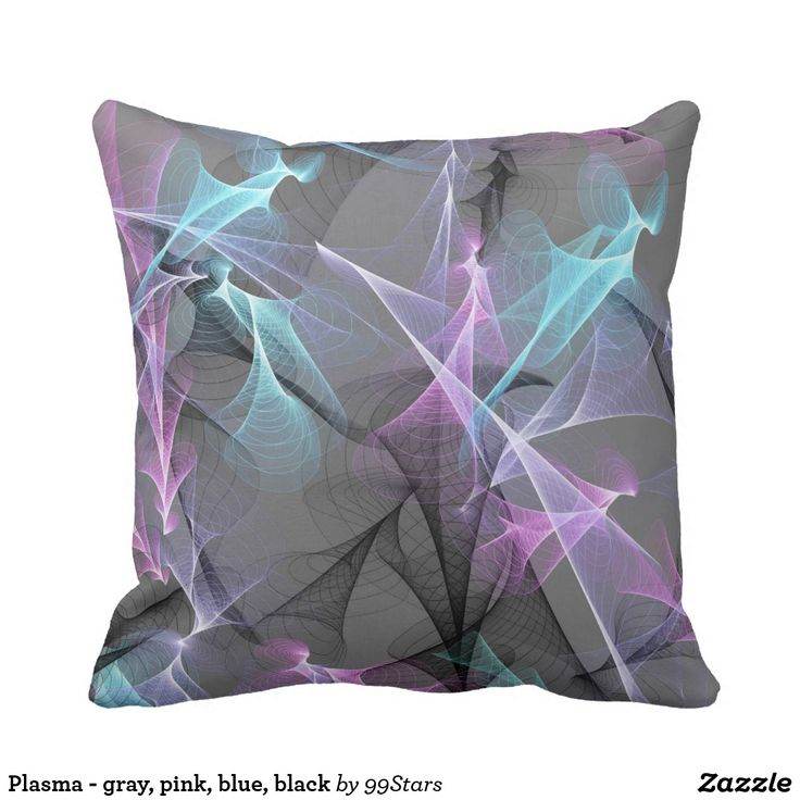Plasma - gray, pink, blue, black throw pillow
