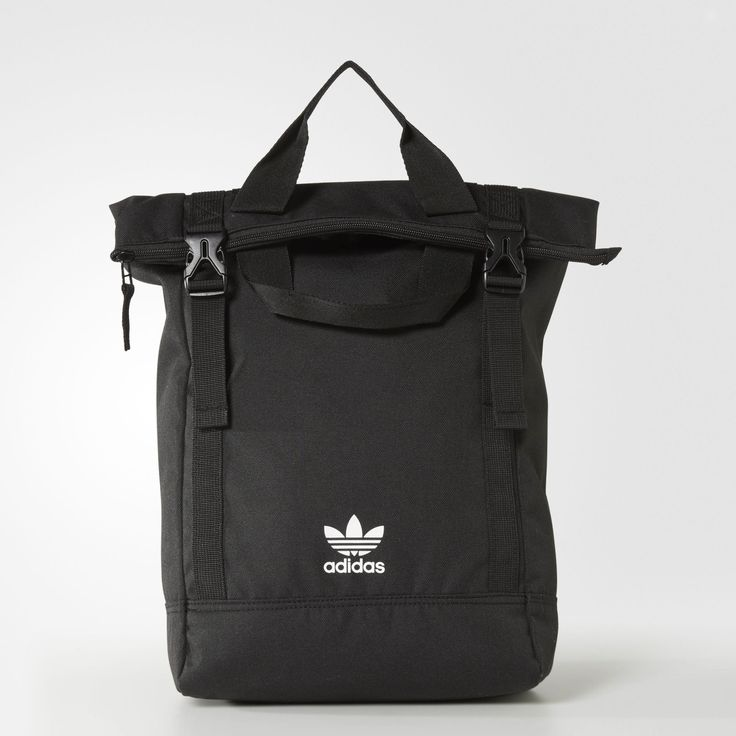 Tote easy with this women's pack, a sharp mix of functionality and authentic adidas Originals style. Converting from a backpack to a tote bag with clip locks, it has a top-loading main compartment to store the bulk of your gear. A hidden zip pocket secures smaller items.
