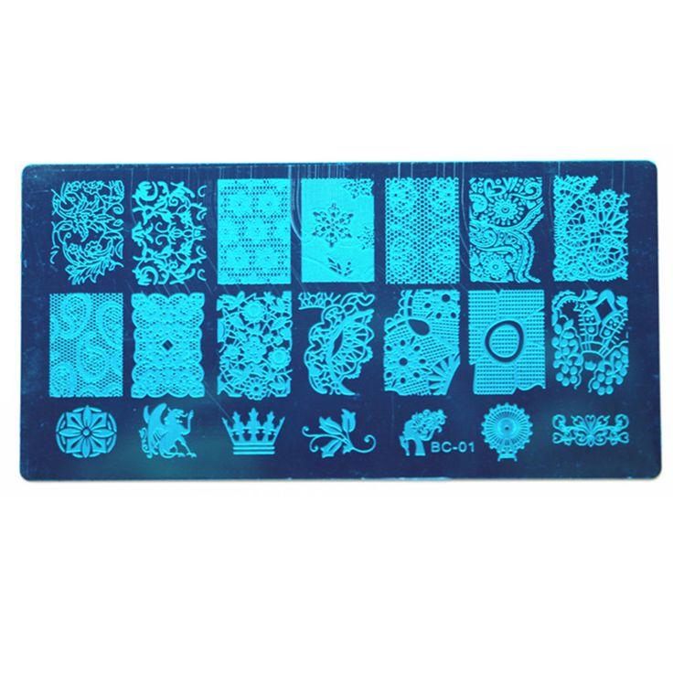 BC Nouveau 20 Conceptions OM Nail Art Plaque Stamp Estamper Ensemble rond En Acier Inoxydable DIY Vernis À Ongles Impression Manucure Nail Pochoir modèle