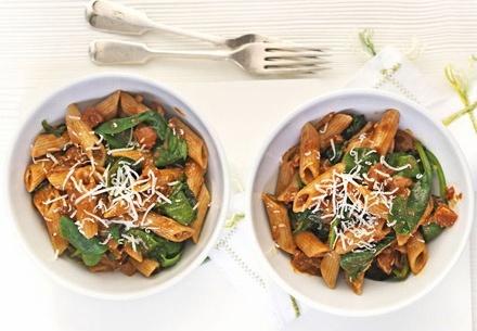 Спагетти с чили, томатами и шпинатом