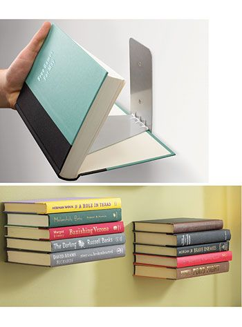 Large Floating Books Wall Shelf. Just cuz they are interesting looking, would still need several walls of shelving for the rest!