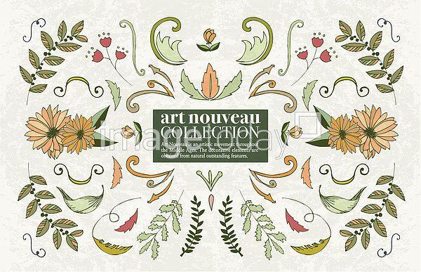 이미지투데이 아르누보 백그라운드 꽃 그린 나뭇잎 오브렉트 자연 일러스트 통로이미지 tongroimages imagetoday artnouveau background flower green leaf object nature illust illustration