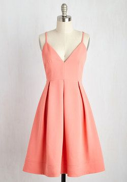 Happy as a Clambake Dress in Peach. Enjoying oysters al fresco in this peachy pink dress, you cant help but remark on what a picnic perfect ensemble it is! #coral #modcloth