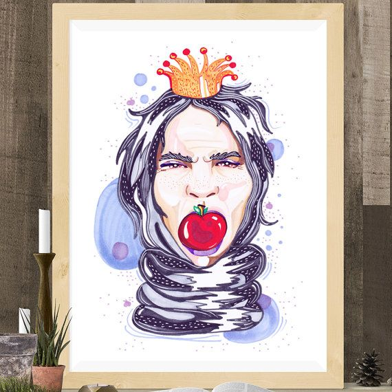 Snow White Witch Bad Character Apple A4 A5 Illustration by mmuffn