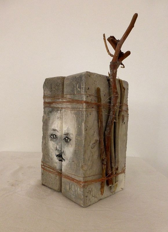 identity. concrete, plant parts, copper wire, paint and other. Ines Seidel