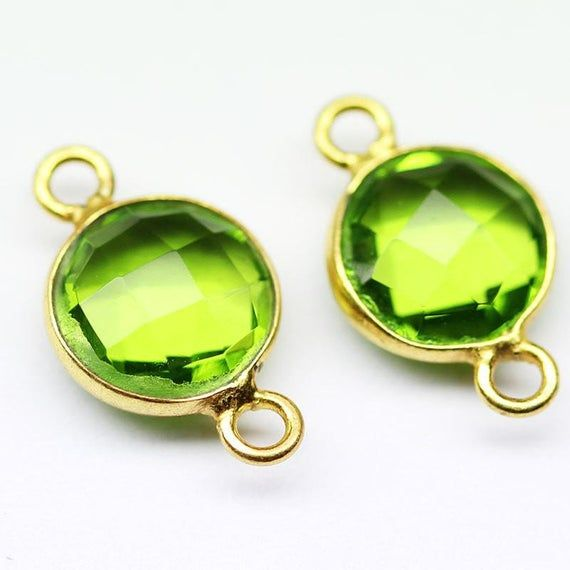 Per 2 Pieces 12mm Faceted Coin Shape Gemstone Connector Peridot Quartz