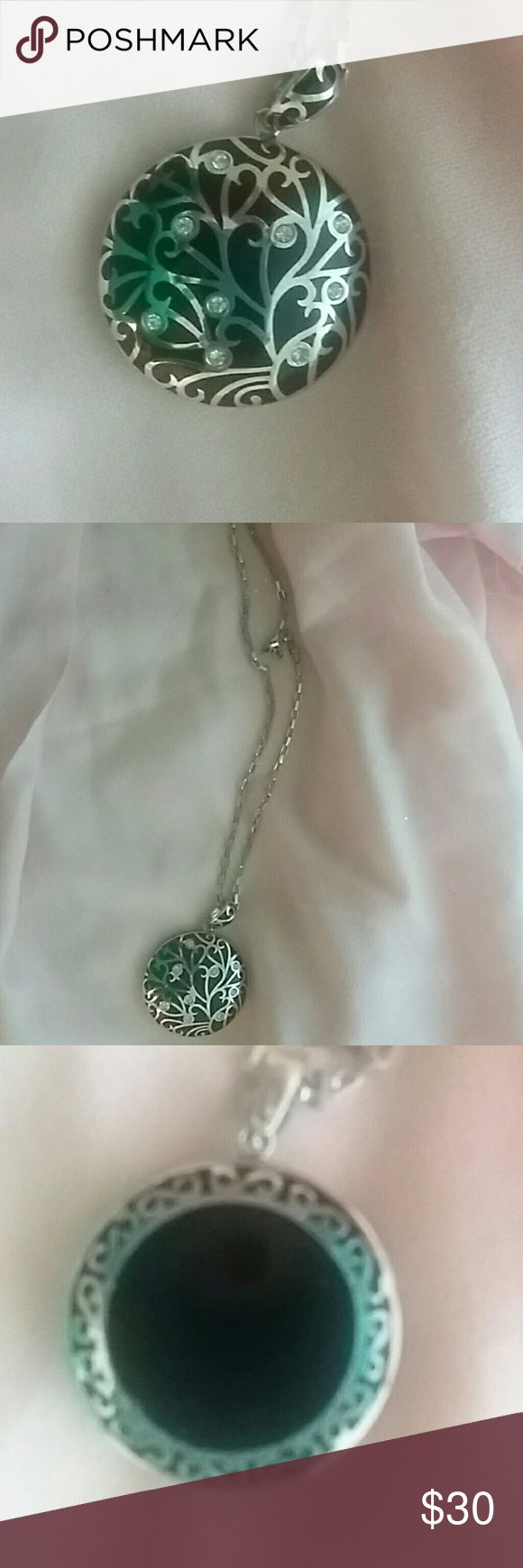 Large black and silver toned necklace Larve black and silver pendant with rhintestones, long chain, costume jewelry. Gift from Australia. Worn 2x. Good condition. Jewelry Necklaces