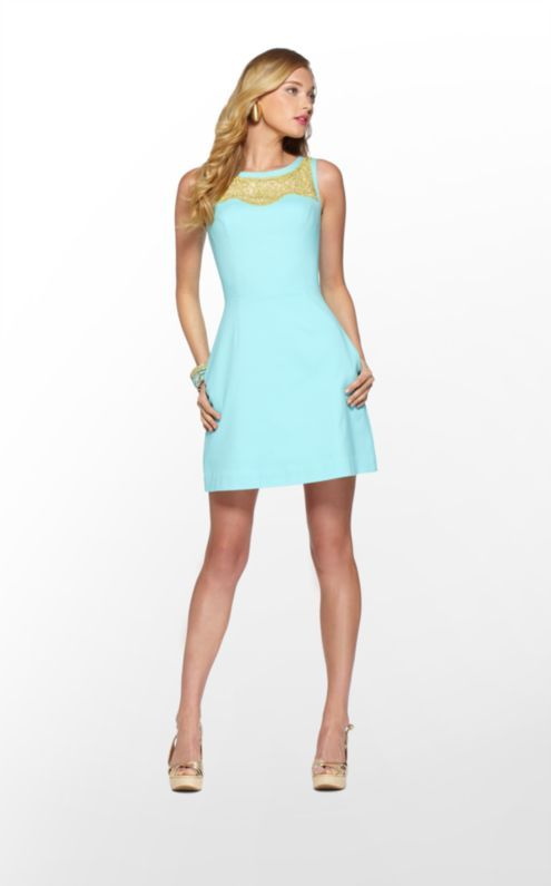 Emmy Dress in Shorely Blue Soutache Trim On Solid $268 (w/o 4/7/13) #lillypulitzer #fashion #style