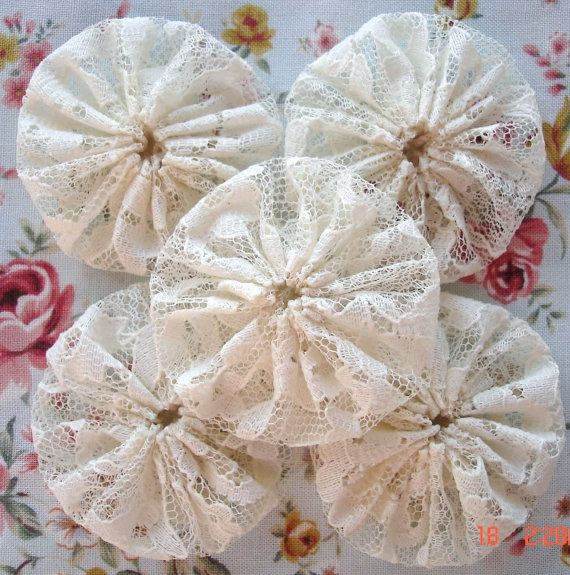 You will receive 15 handmade yo yos measuring approximately 2. Made from a piece of lace fabric in a smoke-free home with double thread for