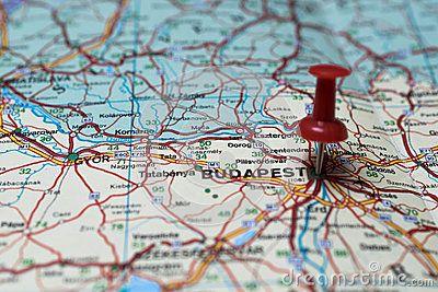 Macro shot of Budapest map with push pin