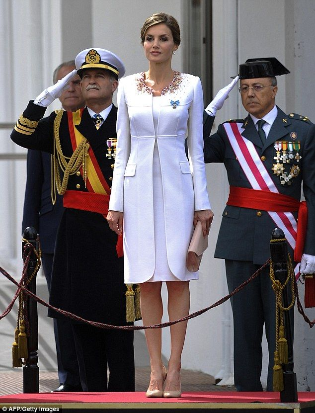 Spain's Queen Letizia attended a ceremony in honour of the Spanish Civil Guard at their headquarters today