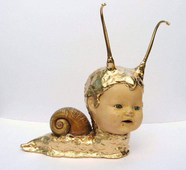 Timmy the Giant Golden Snail, altered doll by Beat Up Creations by BeatUpCreations, via Flickr