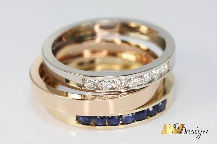 Kolorowe obrączki z kamieniami. Biżuteria na indywidualne zamówienie. Biżuteria z diamentami i kolorowymi kamieniami naturalnymi. BM Design Autorska Pracownia Złotnicza Rzeszów.