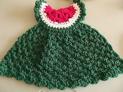 Handmade Watermelon Dress (Red and Green) Cotton Spa Washcloth or Dish Cloth